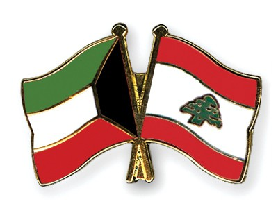 Crossed Flag Pins Kuwait-Lebanon