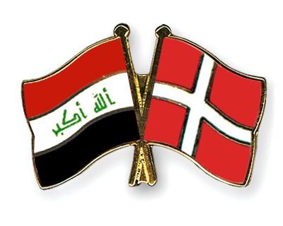 Crossed Flag Pins Iraq-Denmark