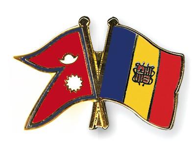 Crossed Flag Pins Nepal-Andorra
