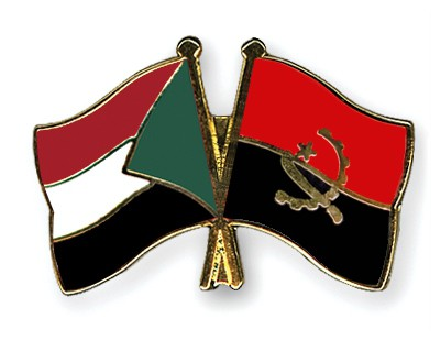 Crossed Flag Pins Sudan-Angola