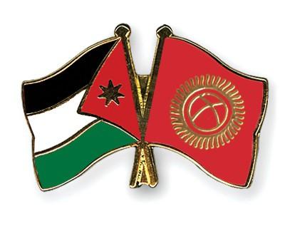 Crossed Flag Pins Jordan-Kyrgyzstan