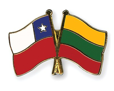 Crossed Flag Pins Chile-Lithuania