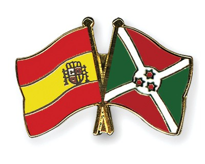 Crossed Flag Pins Spain-Burundi