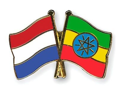 Crossed Flag Pins Netherlands-Ethiopia