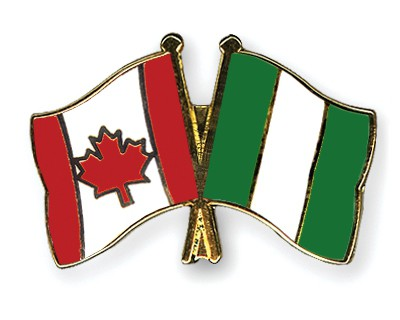 Special Offer Crossed Flag Pins Canada-Nigeria