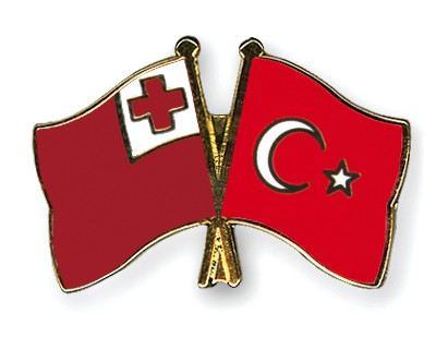 Crossed Flag Pins Tonga-Turkey
