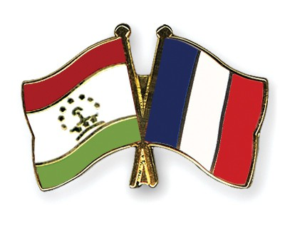 Special Offer Crossed Flag Pins Tajikistan-France
