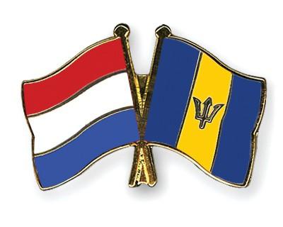 Crossed Flag Pins Netherlands-Barbados