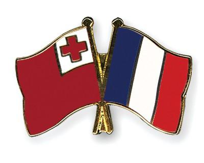 Crossed Flag Pins Tonga-France