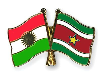 Crossed Flag Pins Kurdistan-Suriname