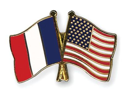 Crossed Flag Pins France-USA