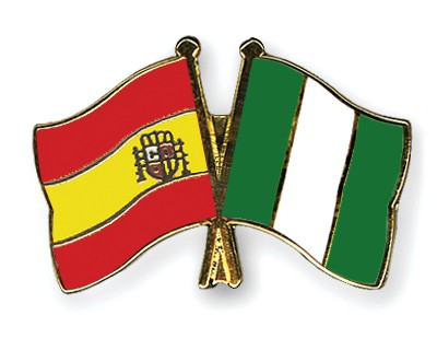 Crossed Flag Pins Spain-Nigeria