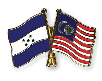 Crossed Flag Pins Honduras-Malaysia