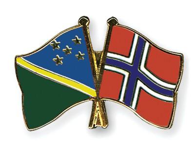 Crossed Flag Pins Solomon-Islands-Norway
