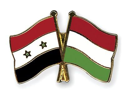 Crossed Flag Pins Syria-Hungary