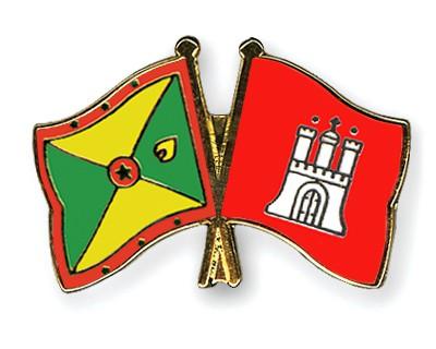 Crossed Flag Pins Grenada-Hamburg
