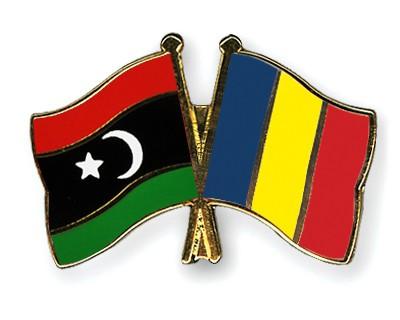 Crossed Flag Pins Libya-Romania