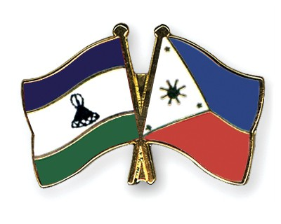 Crossed Flag Pins Lesotho-Philippines