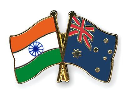 Crossed Flag Pins India-Australia