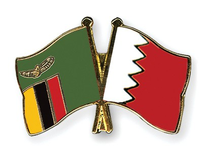 Crossed Flag Pins Zambia-Bahrain