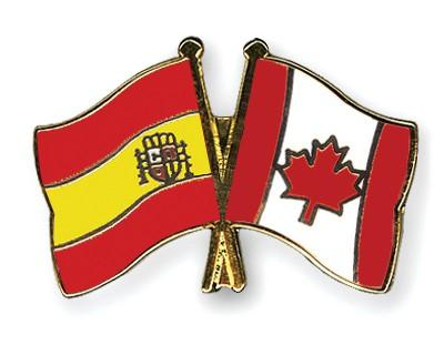 Crossed Flag Pins Spain-Canada