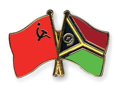 Crossed Flag Pins USSR-Vanuatu