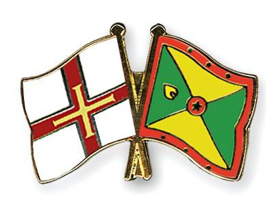 Crossed Flag Pins Guernsey-Grenada