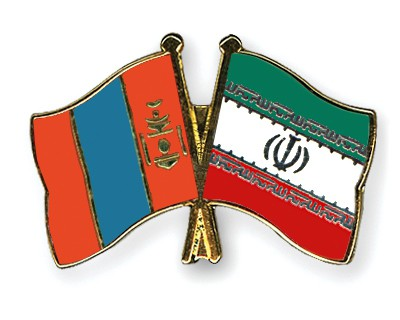 Crossed Flag Pins Mongolia-Iran