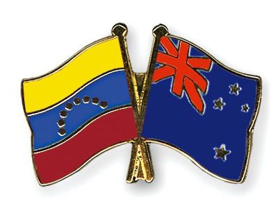 Crossed Flag Pins Venezuela-New-Zealand