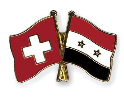 Crossed Flag Pins Switzerland-Syria