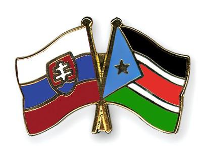 Crossed Flag Pins Slovakia-South-Sudan