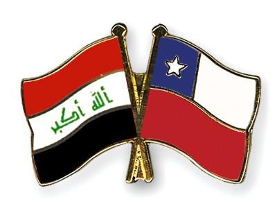 Crossed Flag Pins Iraq-Chile