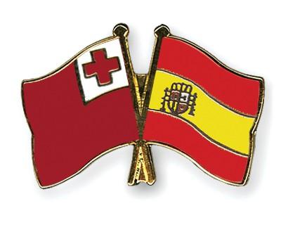 Crossed Flag Pins Tonga-Spain