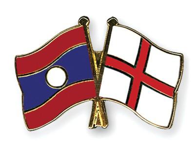 Crossed Flag Pins Laos-England