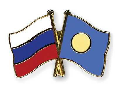 Crossed Flag Pins Russia-Palau