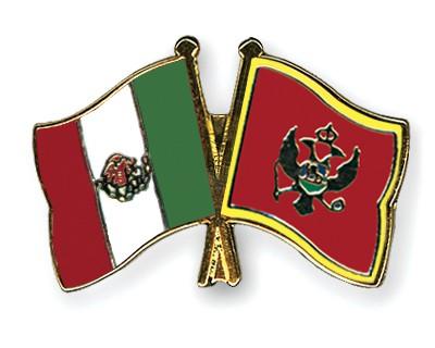 Crossed Flag Pins Mexico-Montenegro