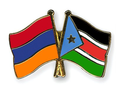 Crossed Flag Pins Armenia-South-Sudan