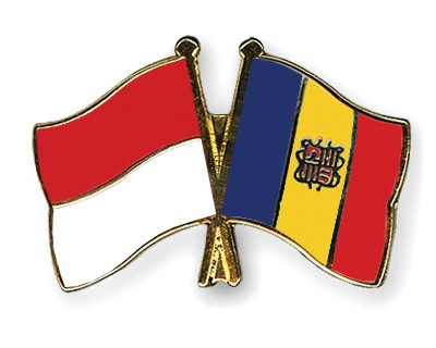 Crossed Flag Pins Indonesia-Andorra