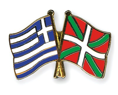 Crossed Flag Pins Greece-Basque-country