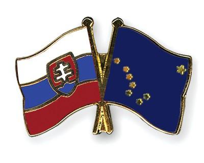 Crossed Flag Pins Slovakia-Alaska
