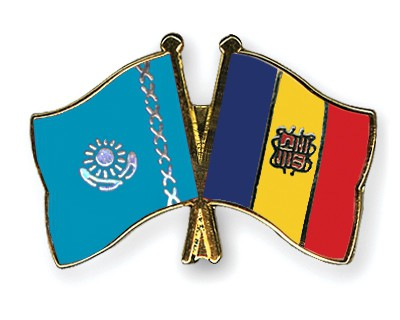 Crossed Flag Pins Kazakhstan-Andorra