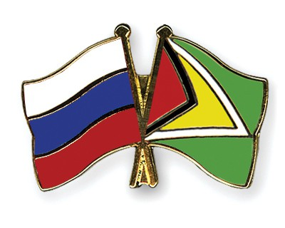 Special Offer Crossed Flag Pins Russia-Guyana