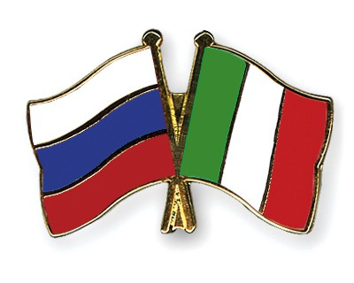 Special Offer Crossed Flag Pins Russia-Italy