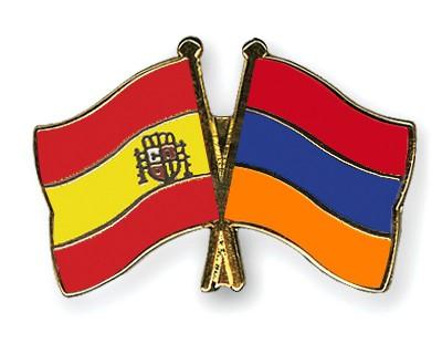 Crossed Flag Pins Spain-Armenia