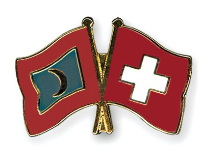 Crossed Flag Pins Maldives-Switzerland