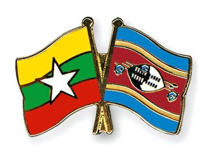 Crossed Flag Pins Myanmar-Swaziland