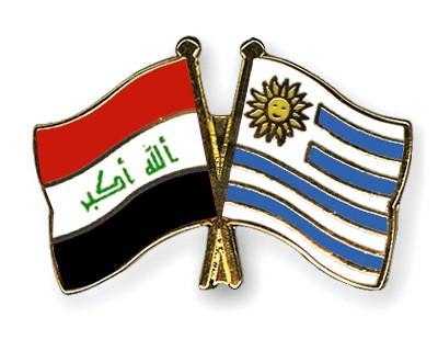 Crossed Flag Pins Iraq-Uruguay