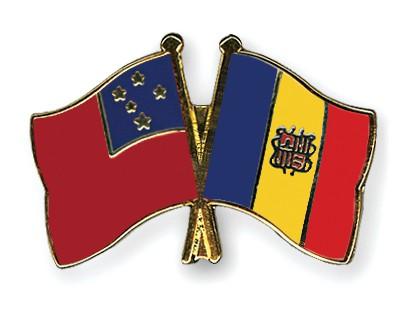 Crossed Flag Pins Samoa-Andorra