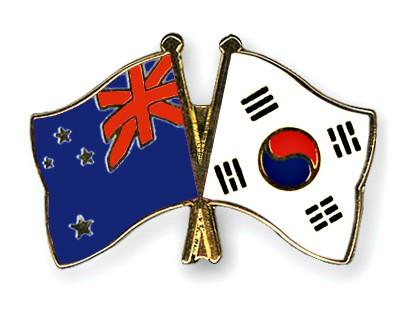 Crossed Flag Pins New-Zealand-South-Korea