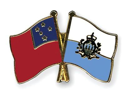 Crossed Flag Pins Samoa-San-Marino